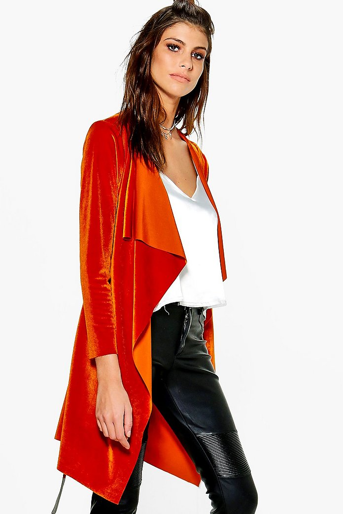Ruby Velvet Waterfall Belted Jacket