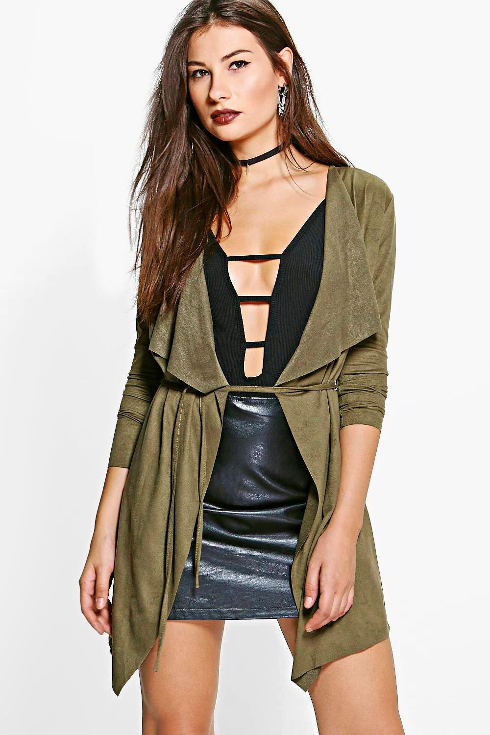 Charlotte Suedette Waterfall Belted Jacket