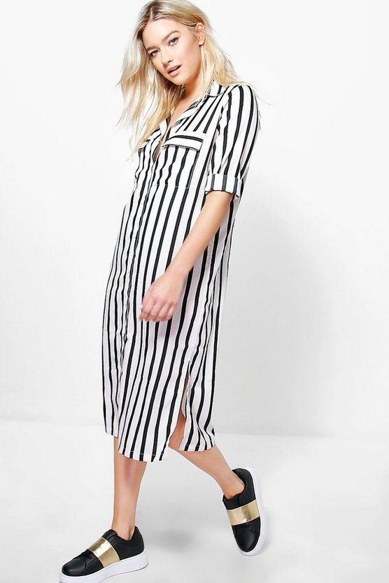 Krya Monochrome Stripe Midi Shirt Dress