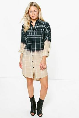 Shreyja Dip Dye Monochrome Check Shirt Dress