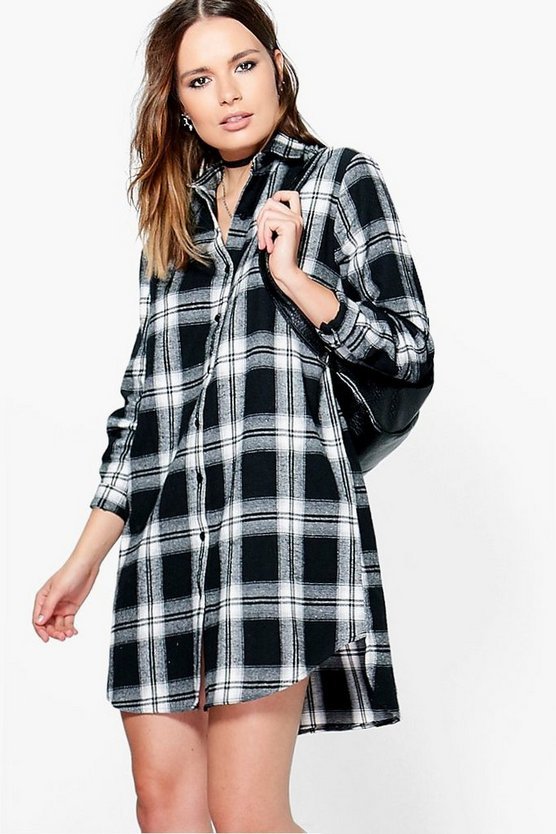 Anvi Monochrome Check Dip Back Shirt Dress