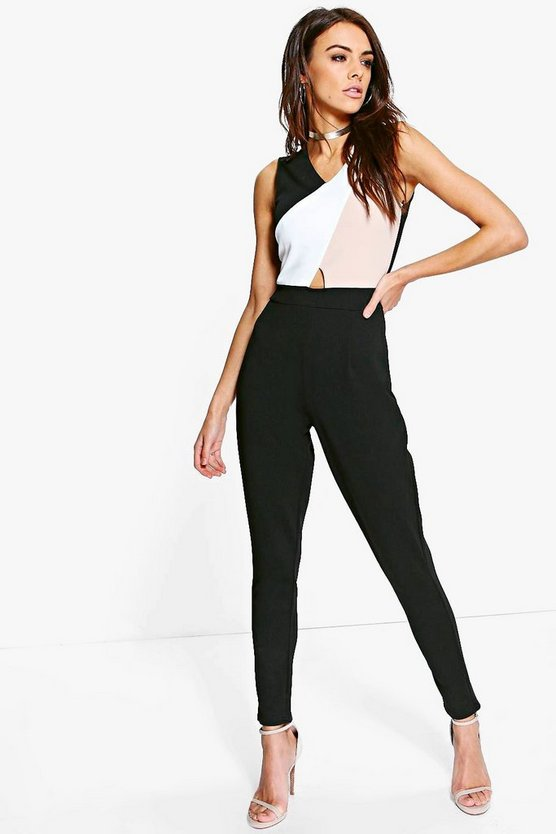 Lois Colour Block Skinny Leg Jumpsuit