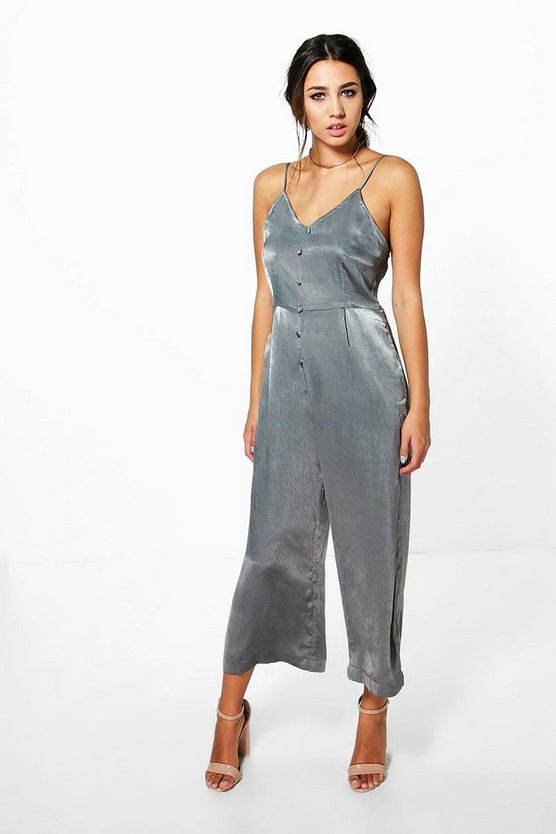 Sara Satin Button Down Culotte Jumpsuit
