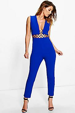 Erin Plunge Neck Ring Detail Jumpsuit