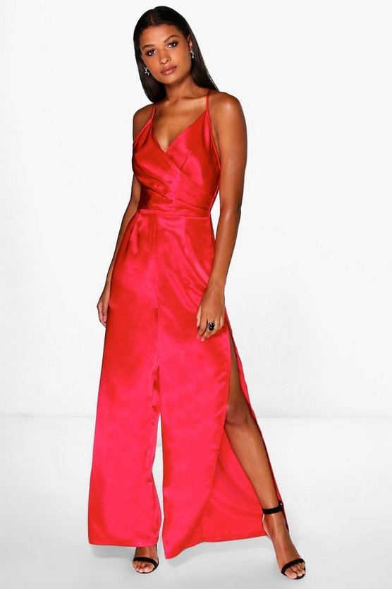 Amy Wrap Front Strappy Satin Split Leg Jumpsuit
