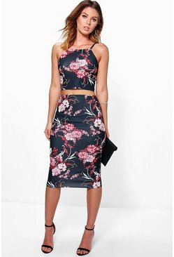 Faith Dark Floral Scuba Top And Midi Skirt Co-ord
