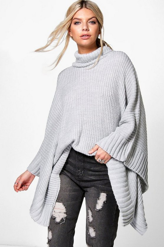 Scarlett Roll Neck Soft Knit Poncho Jumper