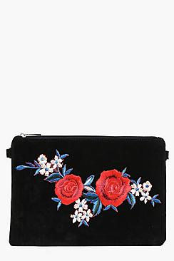 Eve Floral Embroidered Patch Clutch Bag