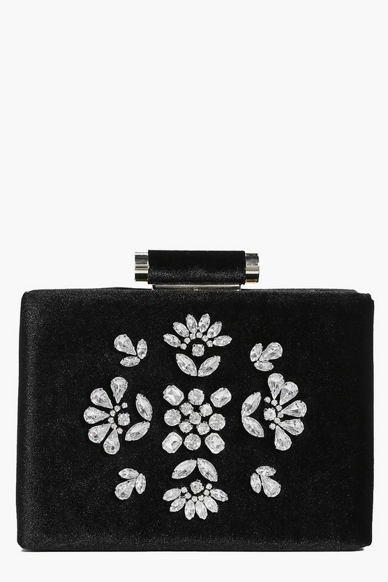 Esme Boutique Embellished Velvet Clutch Bag