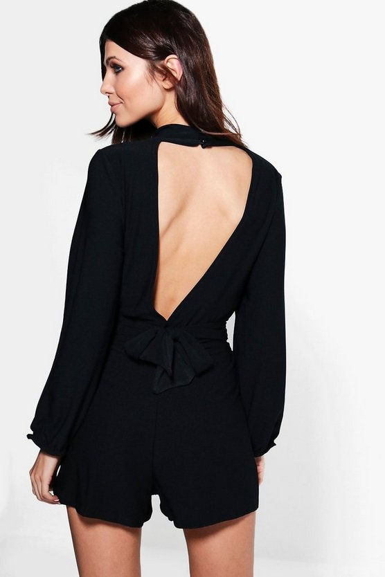 Nia Long Sleeve Open Back Playsuit