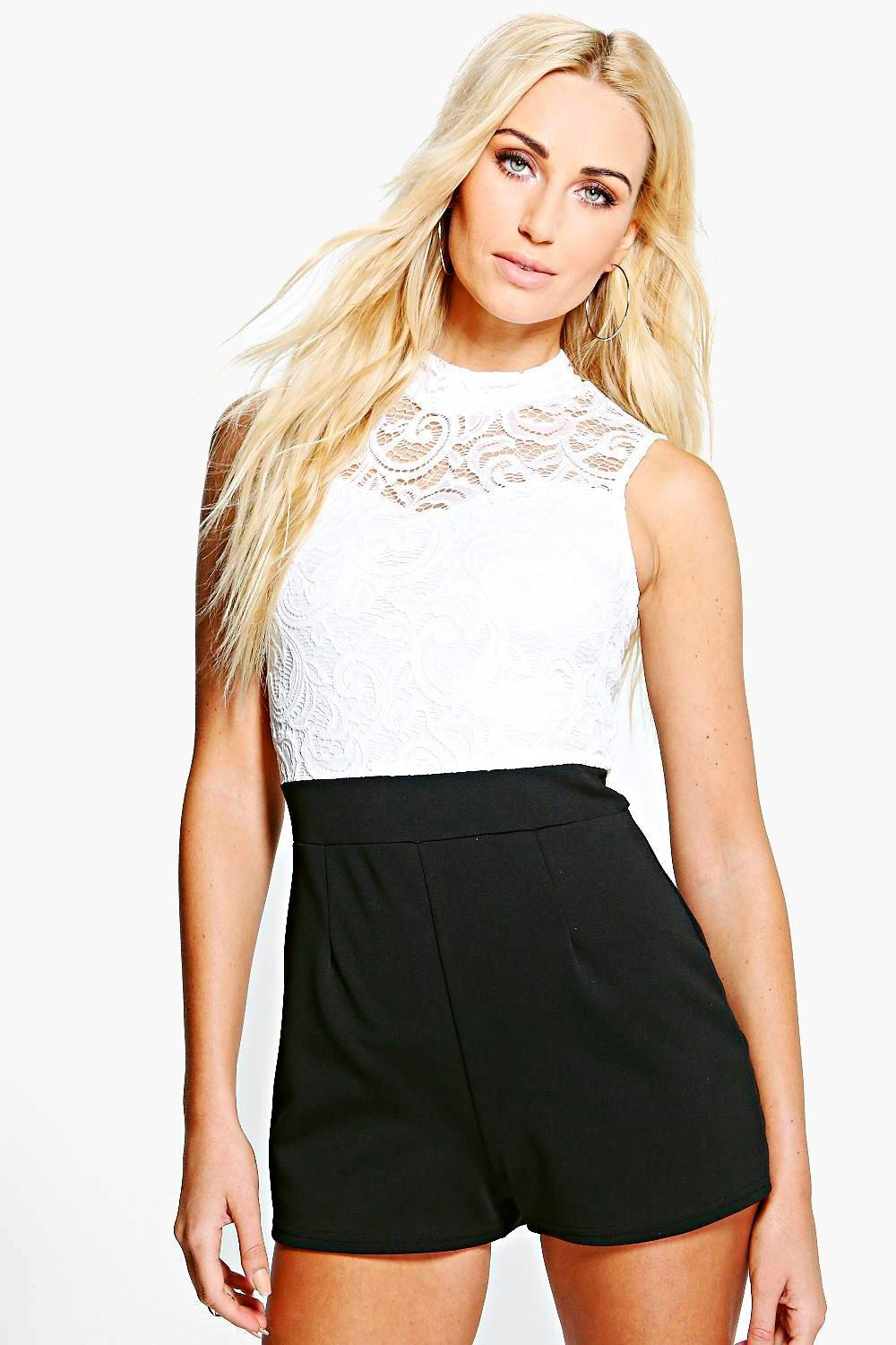 Helena Lace High Neck Playsuit