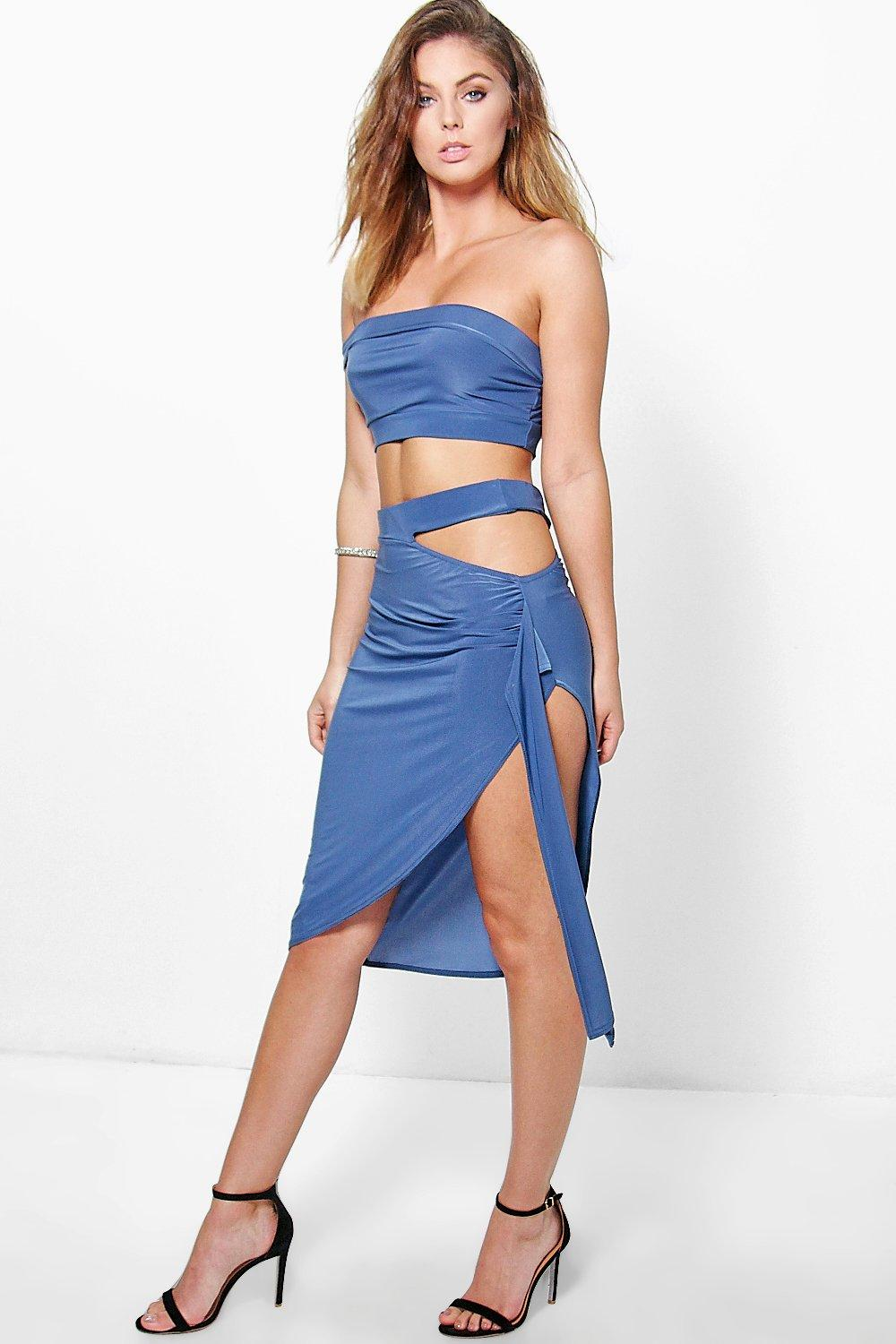 Emma Off The Shoulder Top And Midi Skirt Co-Ord
