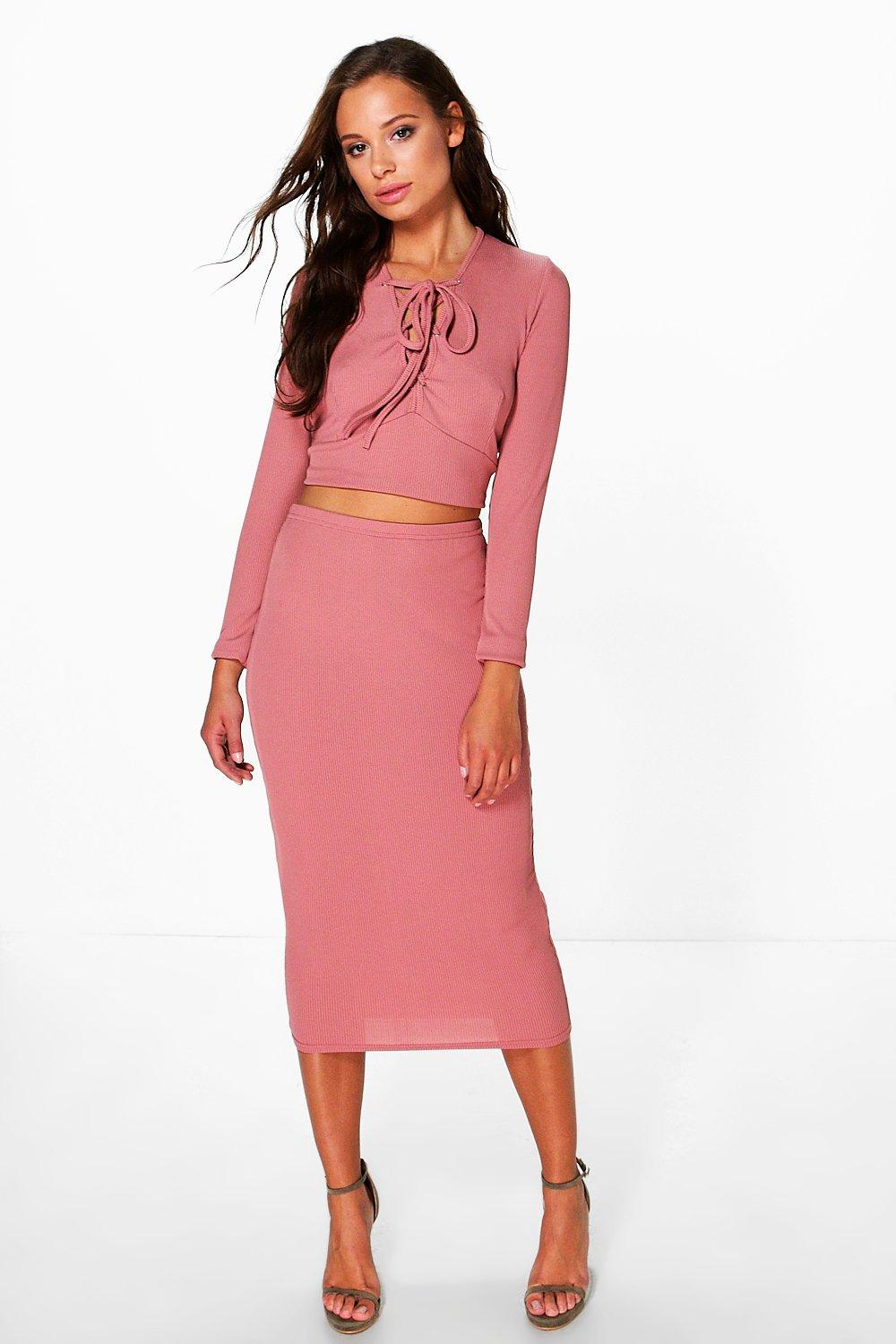 Freya Rib Lace Up Crop And Midi Skirt Co-Ord