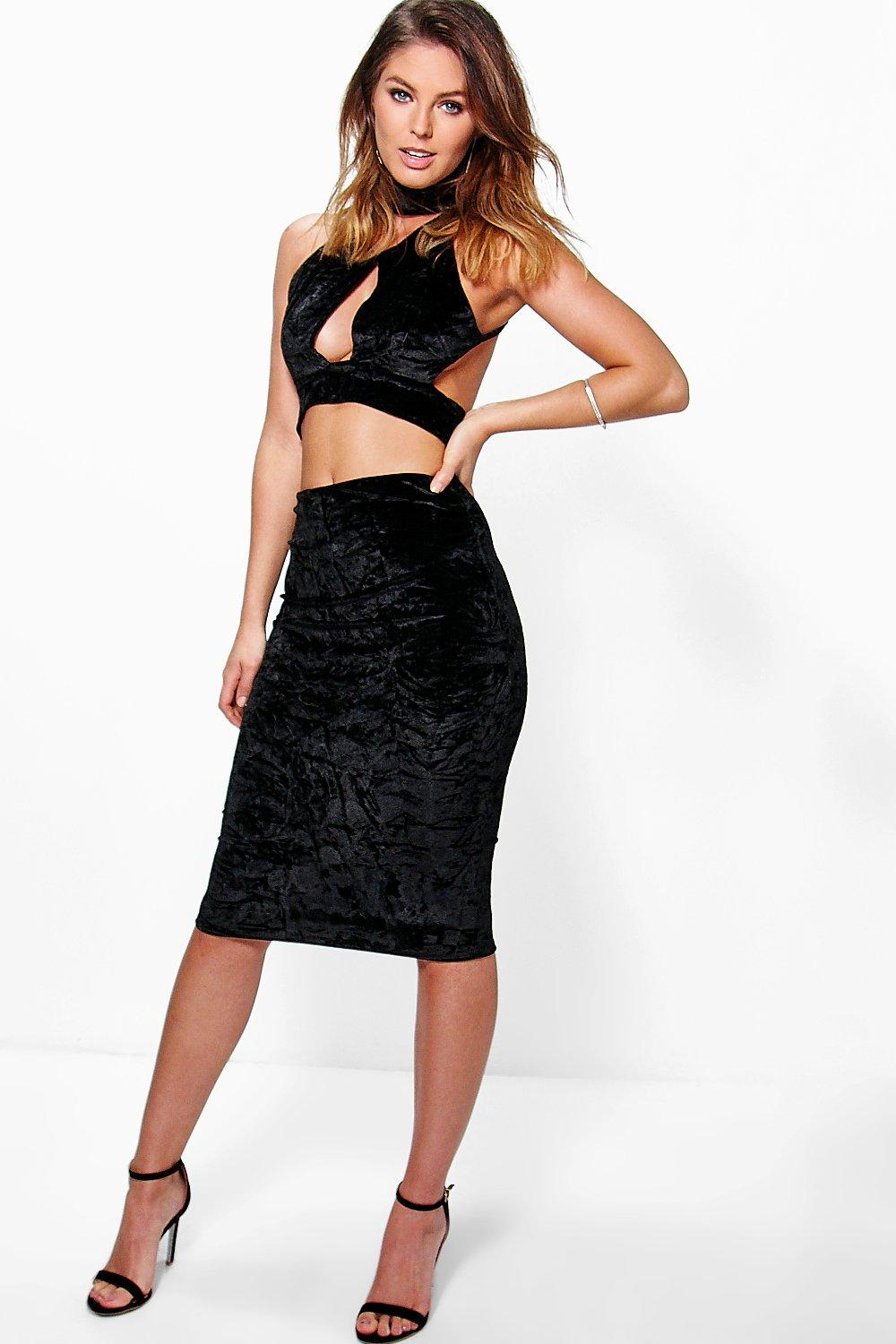 Rosie Velvet Cut Out Choker Bralet And Midi Skirt Co-Ord