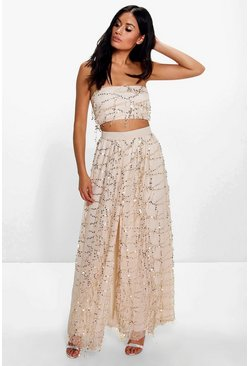 Megan Sequin Bandeau Top And Maxi Skirt Co-Ord