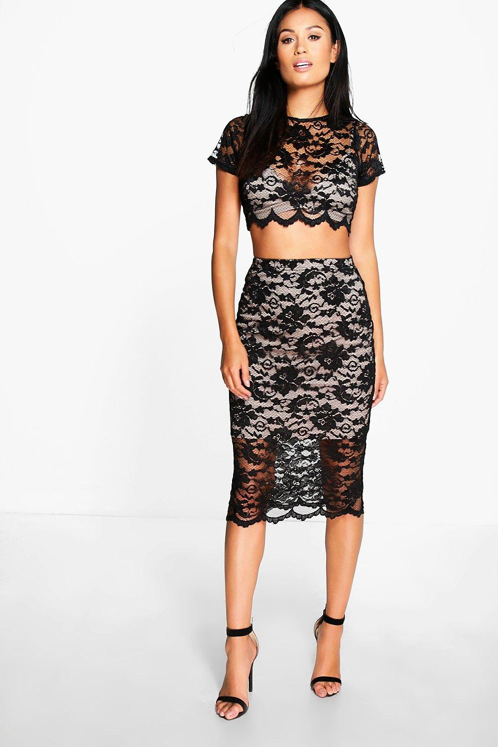 Madison3pc Bralet Lace Crop and Midi Skirt Co-Ord