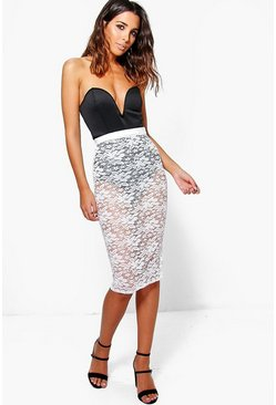 Georgia Boutique Scuba Body And Lace Midi Skirt Co-Ord
