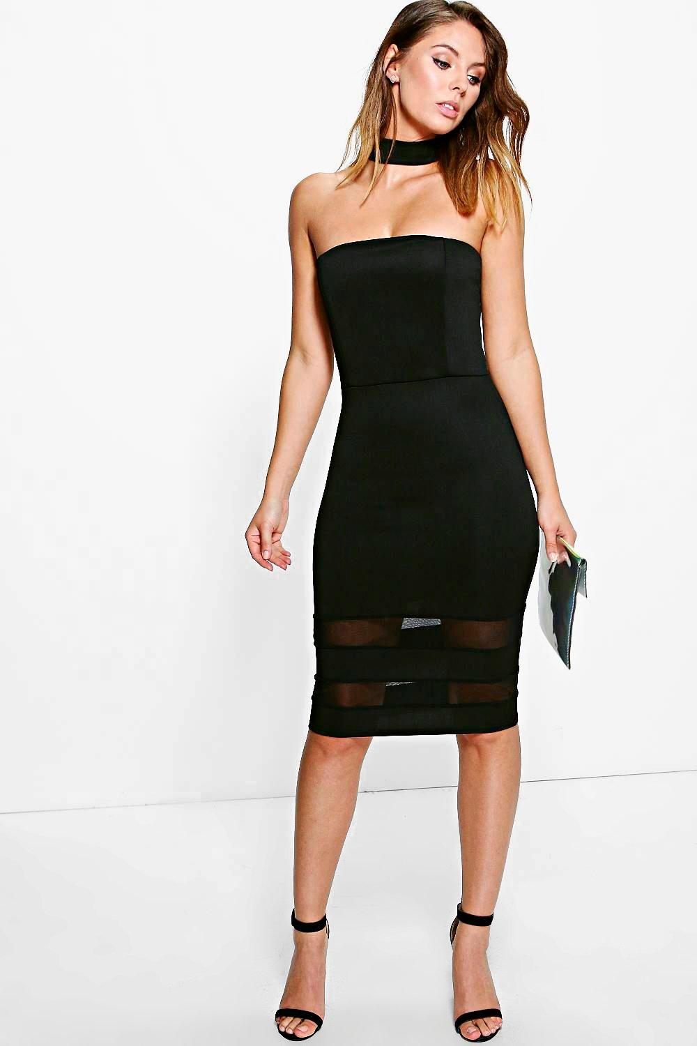 Amie Choker Mesh Insert Hem Bodycon Dress