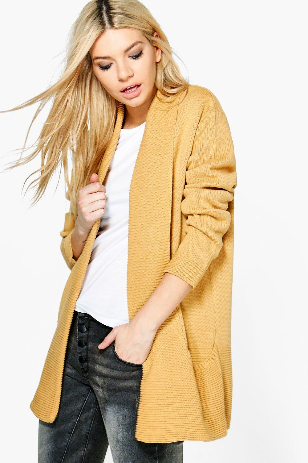 Boohoo Womens Brooke Soft Knit Edge to Edge Cardigan in Camel size S/M eBay