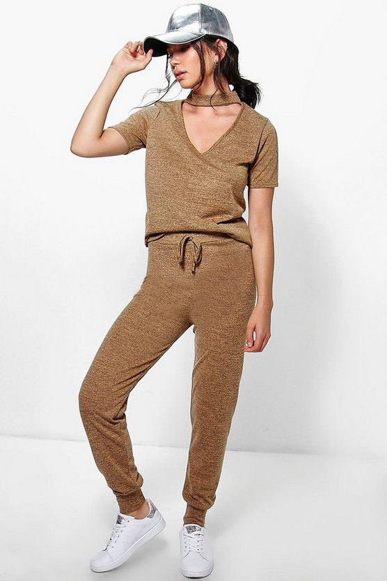 Bella Choker Jumper And Jogger Knit Lounge Set