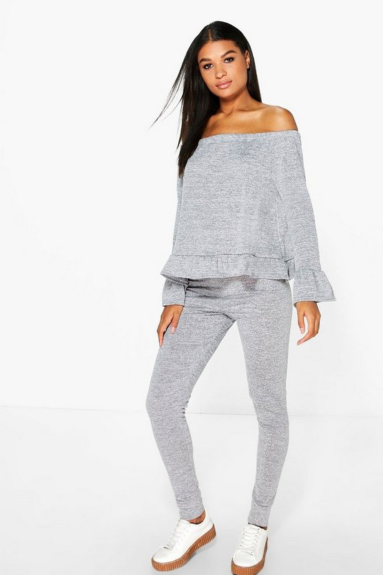 Esme Bardot Ruffle Hem Knit Top And Legging Set