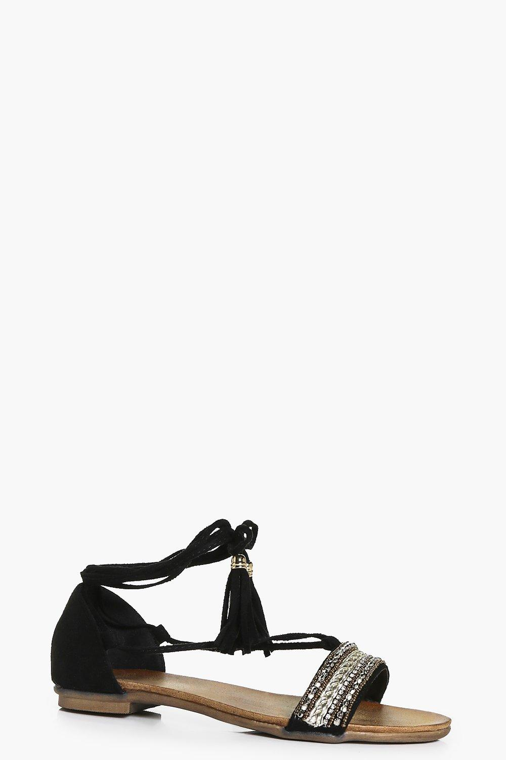 New Tassel Sandal black
