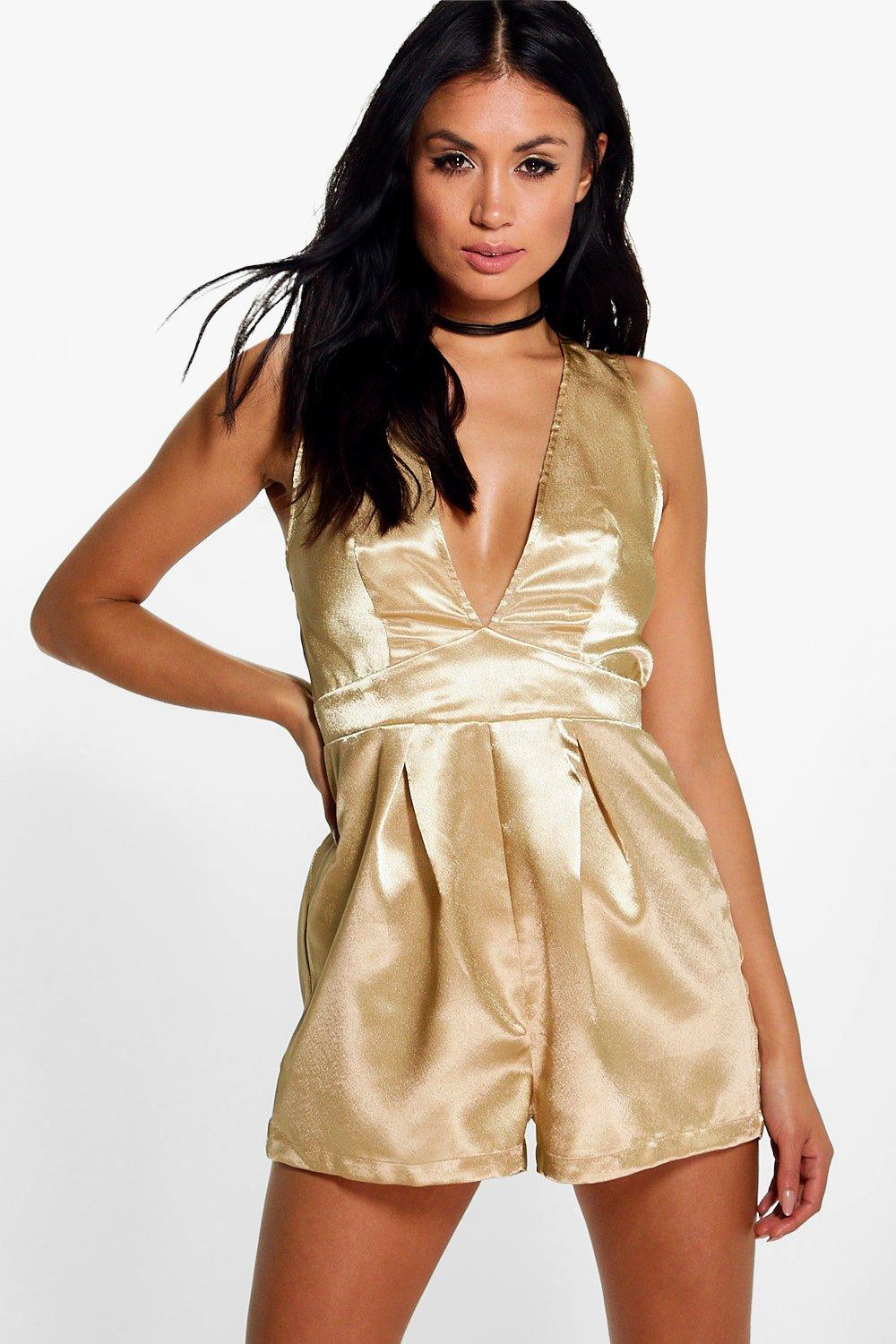 Hannah Plunge Metallic Playsuit