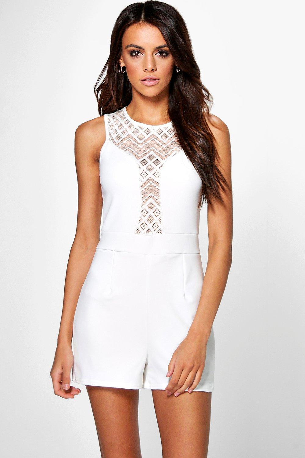 Lace Insert Playsuit - ivory
