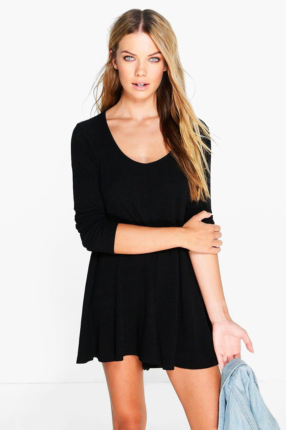 Anii Ribbed Long Sleeve Swing Playsuit