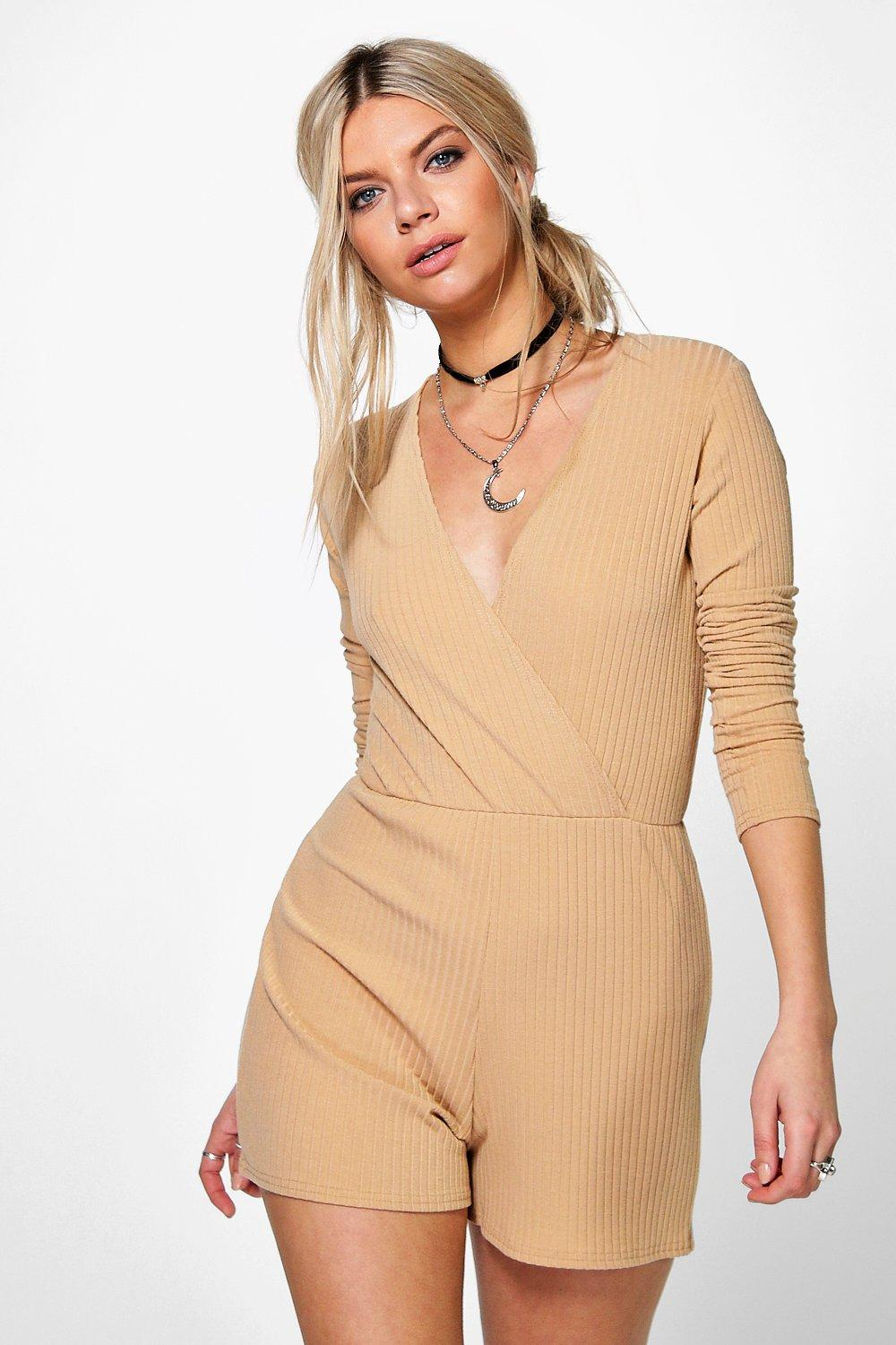 Linda Ribbed Wrap Front Playsuit