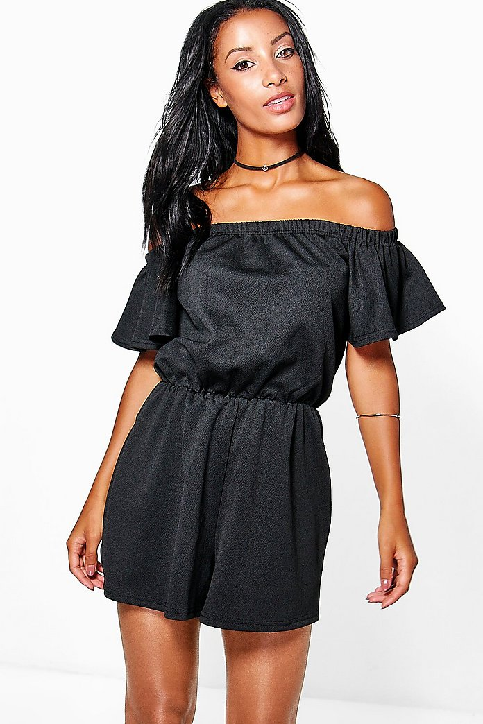 Jen Off The Shoulder Flare Sleeve Playsuit