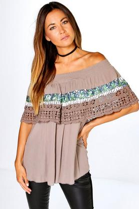 Belle Sequin Trim Crochet Bardot Top
