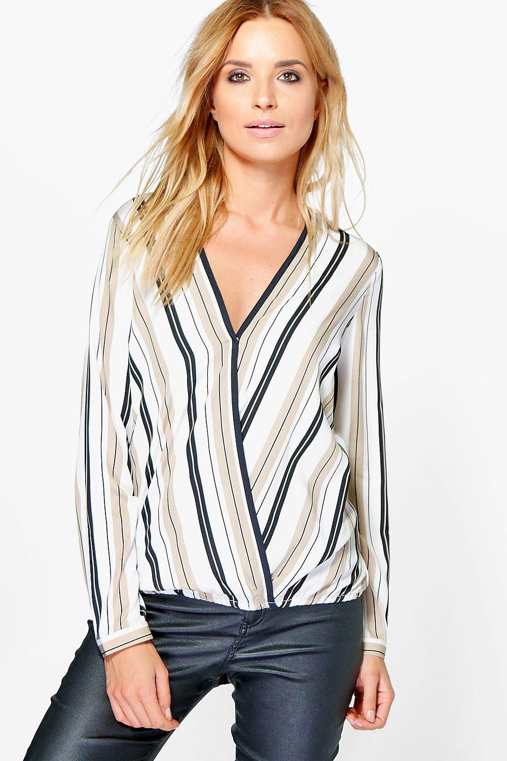 Grace Stripe Wrap Front Blouse