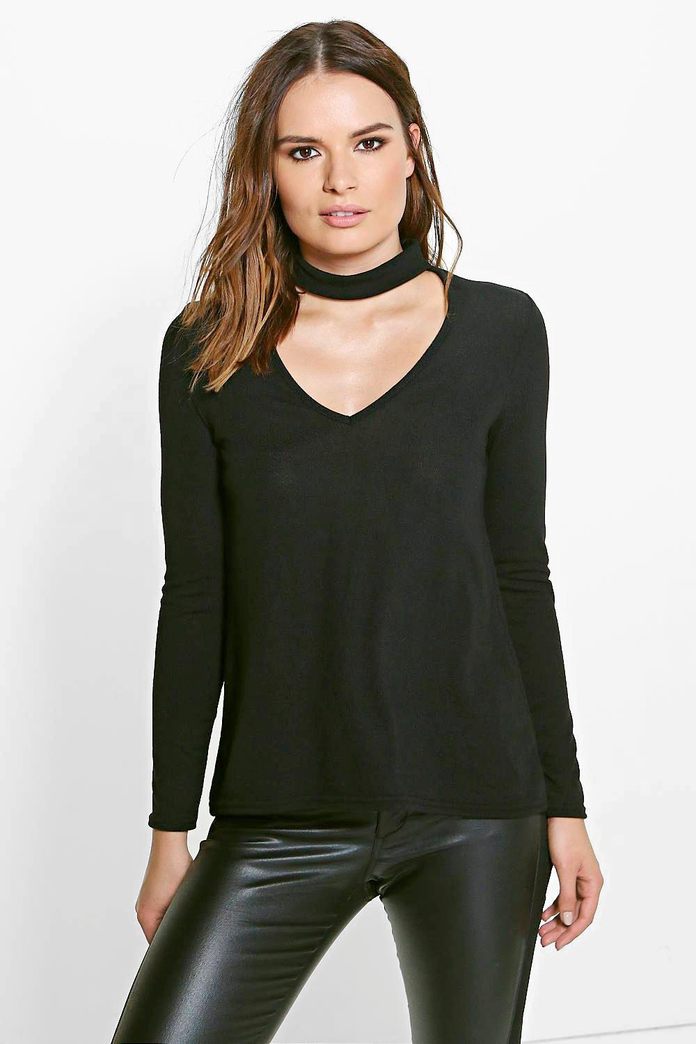 Saskia Choker Plunge Neck Knitted Top