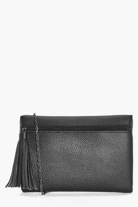 Iris Front Zip Large Tassel Cross Body Bag