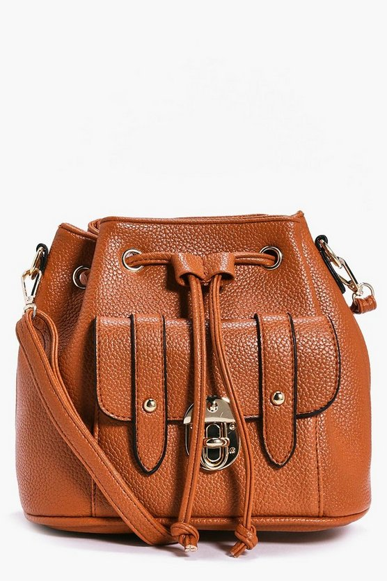 Amy Metal Clasp Pocket Front Duffle Bag