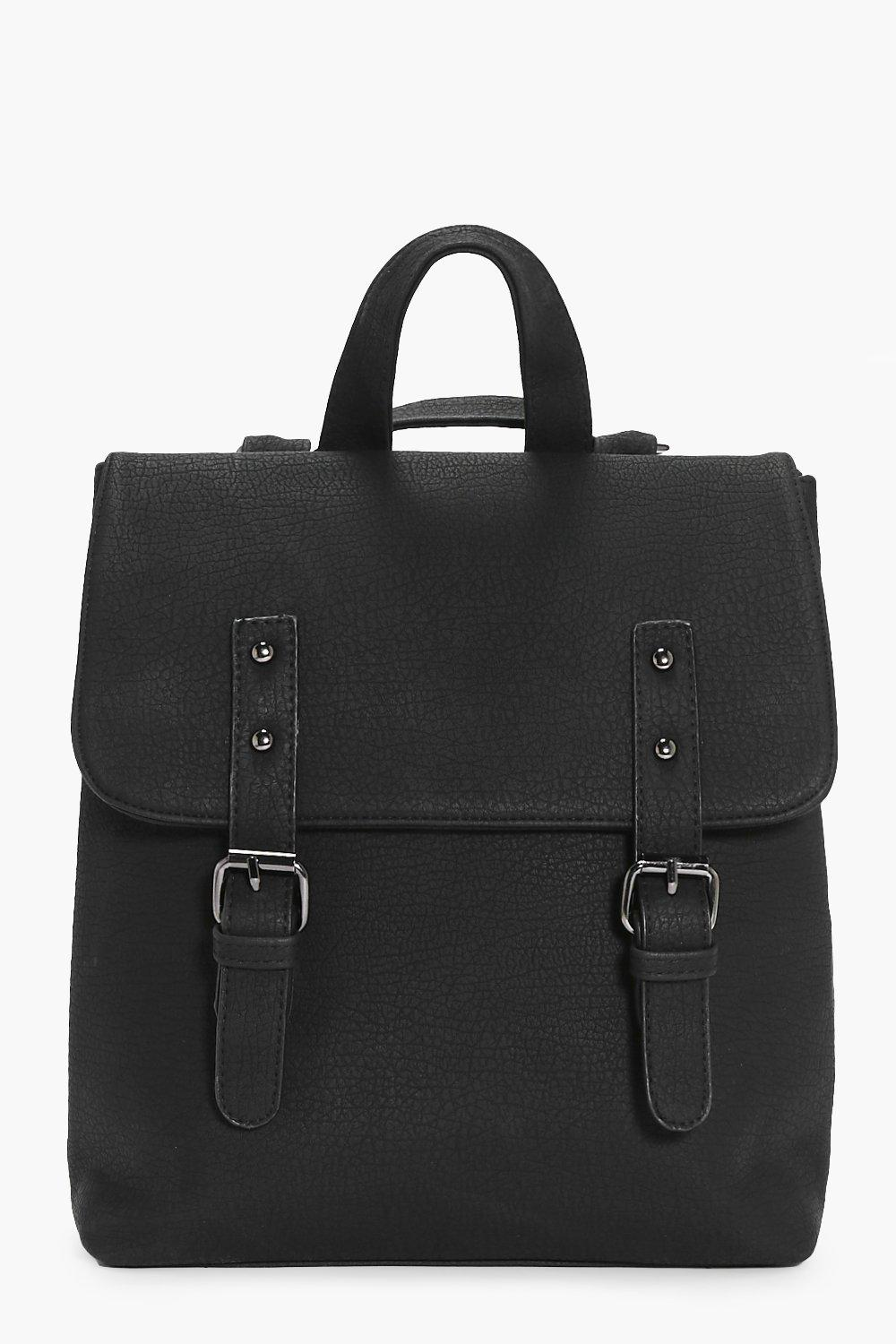 Buckle Detail Structured Backpack - black - Keira