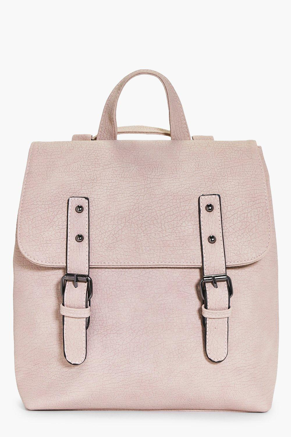 Buckle Detail Structured Backpack - blush - Keira