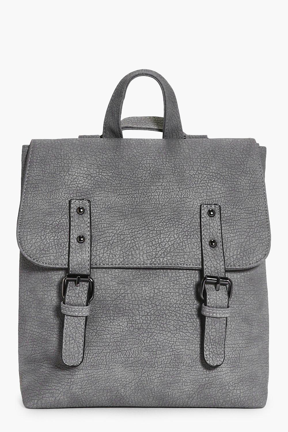Buckle Detail Structured Backpack - grey - Keira B
