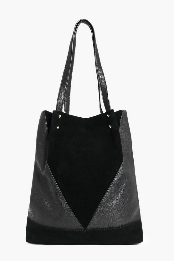 Martha Suedette Panelled Shopper Bag