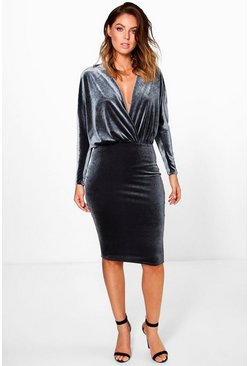 Joy Wrap Front Velvet Wrap Midi Dress