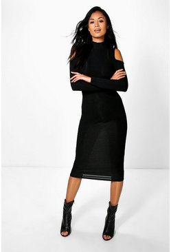 Di Rib Cold Shoulder High Neck Midi Dress