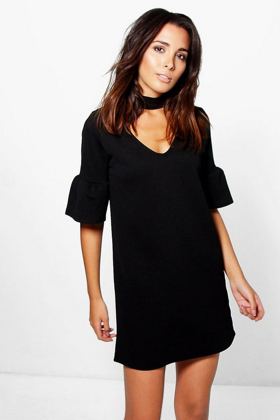 Thea Volumised Flute Sleeve Choker Dress