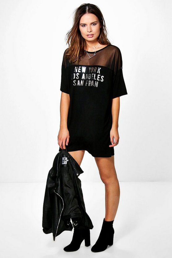 Ita Mesh Slogan Tshirt Dress