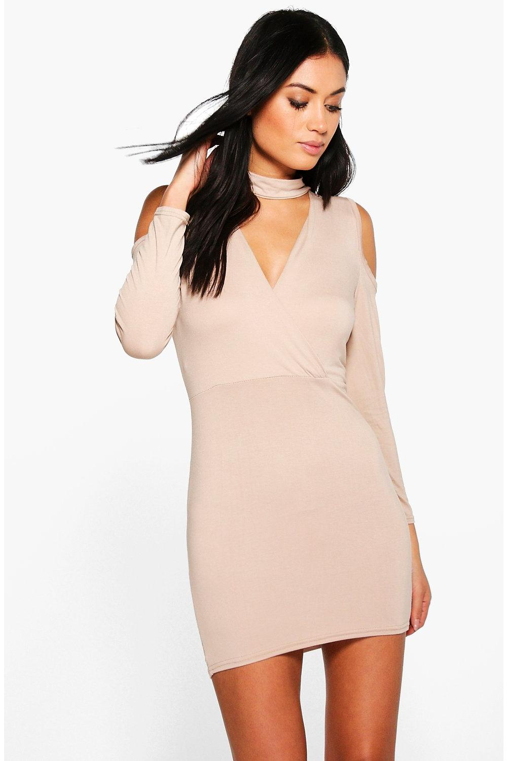 Tess Wrap Front Choker Bodycon Dress