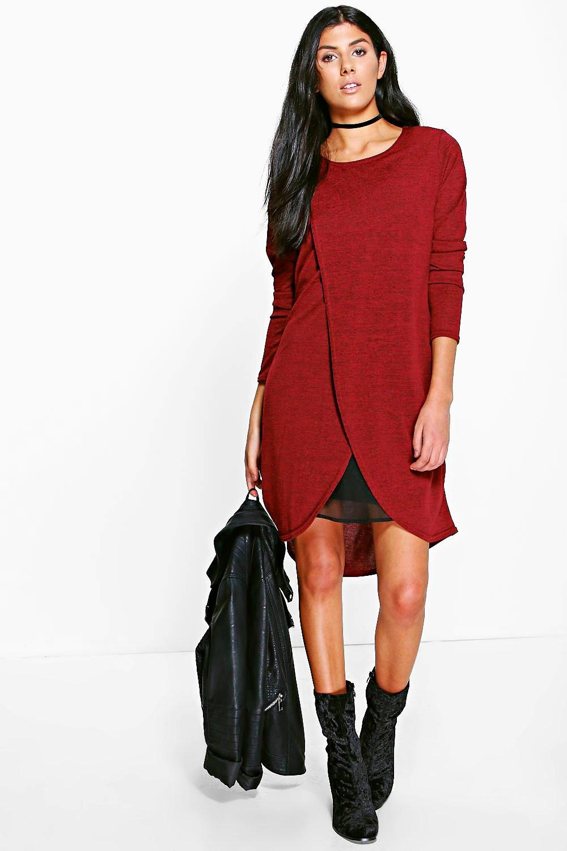 Marl Knit Wrap Shift Dress  berry