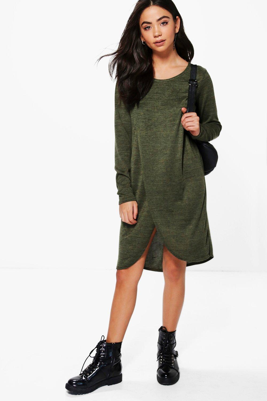 Marl Knit Wrap Shift Dress  khaki