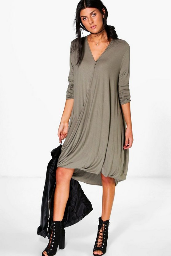 Zoe Dipped Hem Wrap Drape Midi Dress