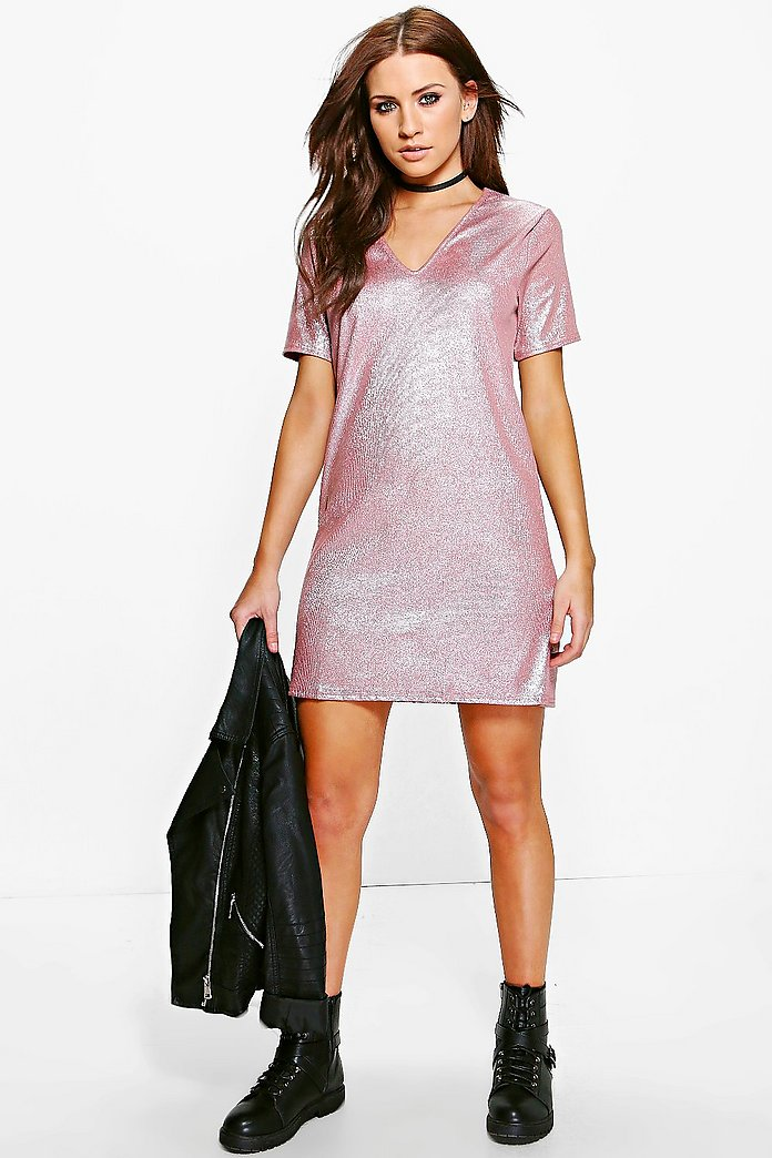 Gia Metallic Rib Shift Dress