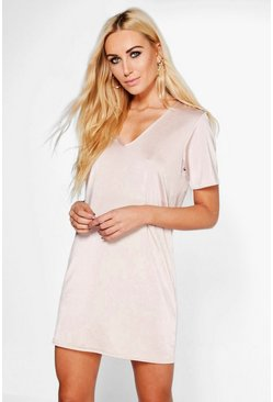 Aida V Neck Slinky Shift Dress